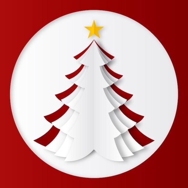 Weihnachtsbaum im papierstil Premium Vektoren