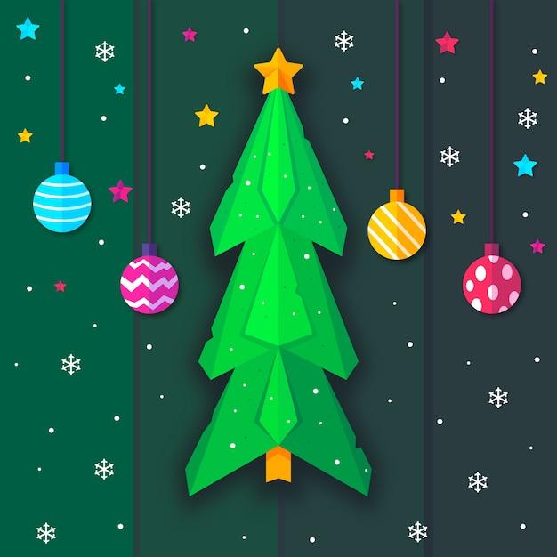 Weihnachtsbaum in der papierart und in hängenden weihnachtsbällen Kostenlosen Vektoren