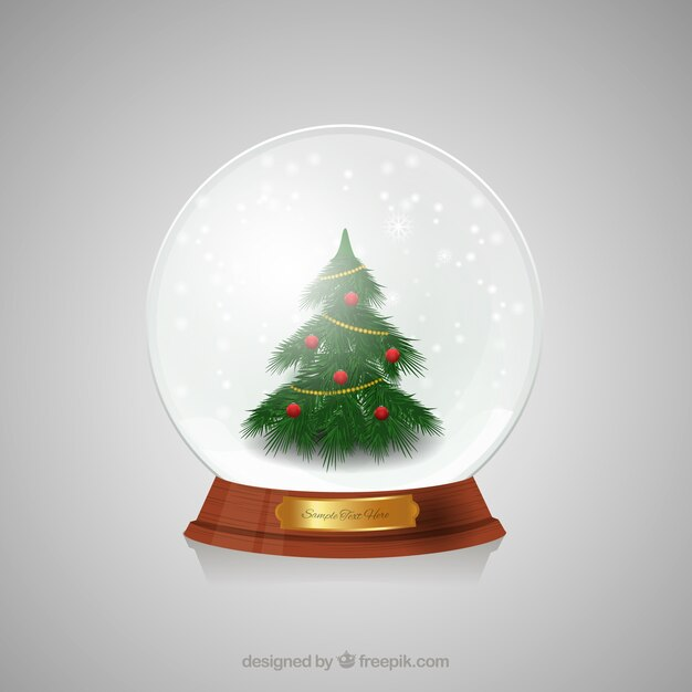 weihnachtsbaum innerhalb eines weihnachts kristallkugel. Black Bedroom Furniture Sets. Home Design Ideas