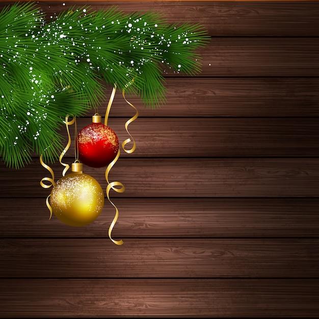 Weihnachtsbaum mit bällen im hölzernen hintergrund Premium Vektoren