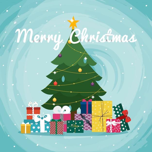 Weihnachtsbaum mit geschenken. Premium Vektoren