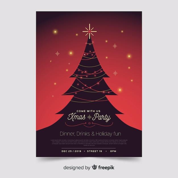 Weihnachtsbaum mit lichterkettenplakatschablone Kostenlosen Vektoren