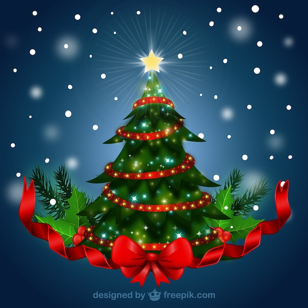 Weihnachtsbaum mit rotem band download der kostenlosen Ruta de la navidad 2016