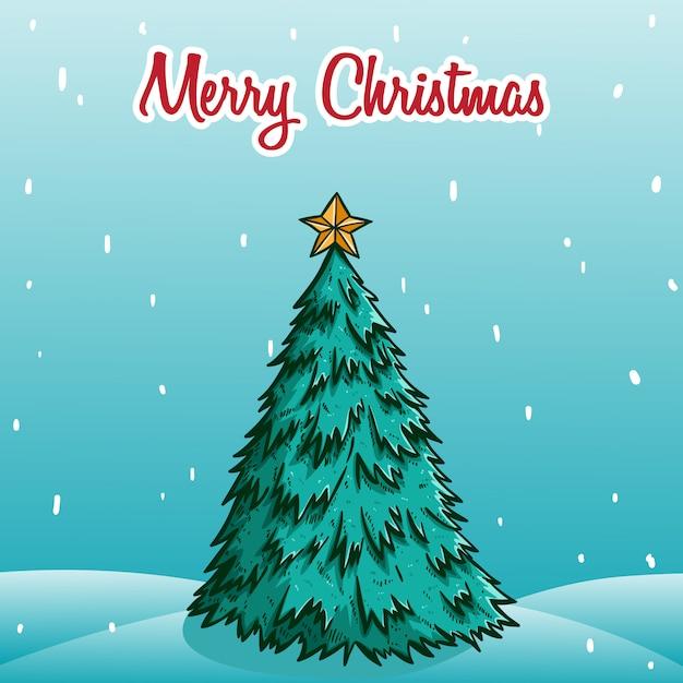 Weihnachtsbaum mit stern auf der oberseite mit schnee Premium Vektoren