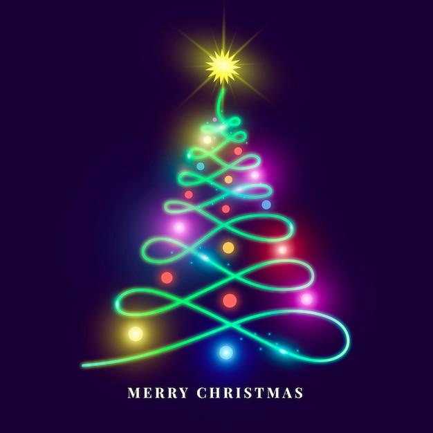 Weihnachtsbaum-neonillustration Kostenlosen Vektoren