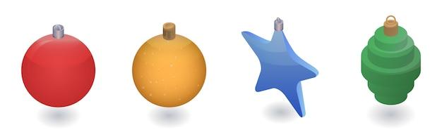 Weihnachtsbaum spielt ikonensatz. isometrischer satz weihnachtsbaum spielt vektorikonen für das webdesign, das auf weißem hintergrund lokalisiert wird Premium Vektoren