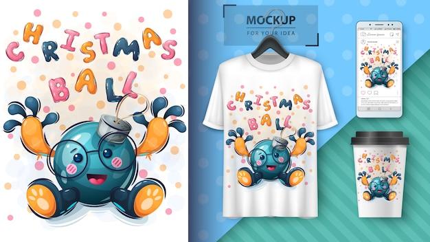 Weihnachtsbaum-spielzeugillustration und merchandising Premium Vektoren