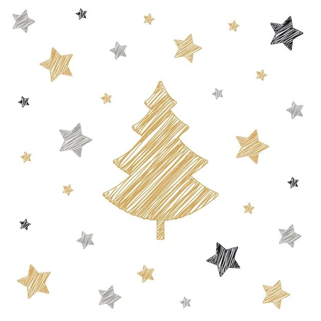 Sterne Für Weihnachtsbaum.Weihnachtsbaum Sterne Scribble Karte Die Weißen Hintergrund