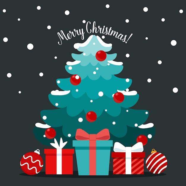 Weihnachtsbaum und dekoratives festobjekt. frohe weihnachten und ein glückliches neues jahr. Premium Vektoren