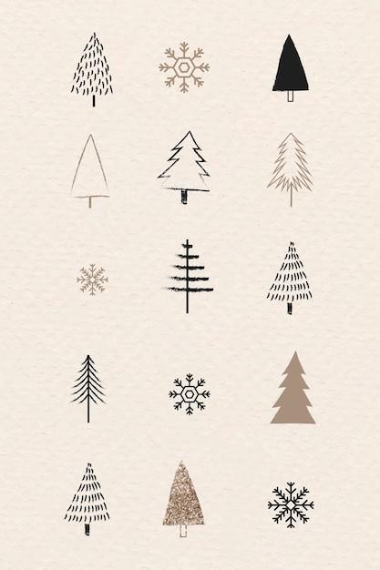 Weihnachtsbaum- und schneeflockensammlung im gekritzelstil Kostenlosen Vektoren