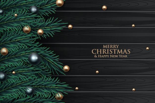 Weihnachtsbaumast verziert mit goldblasen Premium Vektoren