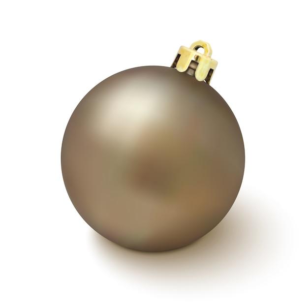 Weihnachtsbaumdekoration auf weißem hintergrund. goldene weihnachtskugel. illustration. Premium Vektoren