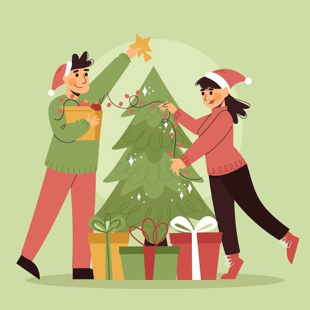 Weihnachtsbaumdekorationsszene Kostenlosen Vektoren