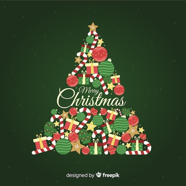 Weihnachtsbaumhintergrund im flachen design Kostenlosen Vektoren