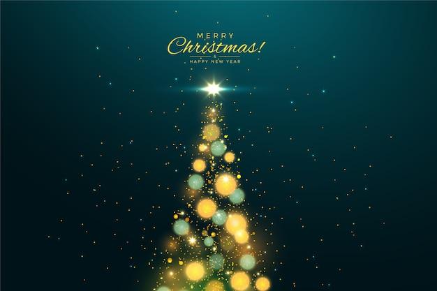 Weihnachtsbaumhintergrund mit funkelneffekt Kostenlosen Vektoren
