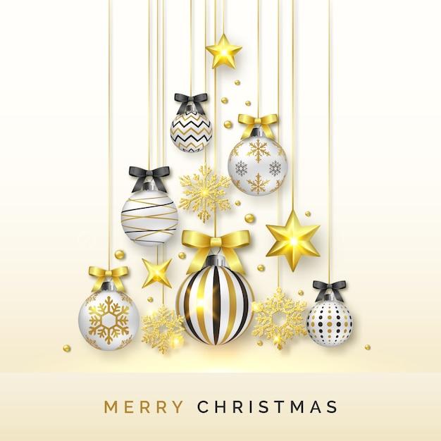 Weihnachtsbaumhintergrund mit glänzenden schneeflocken, sternen und bunten bällen Premium Vektoren