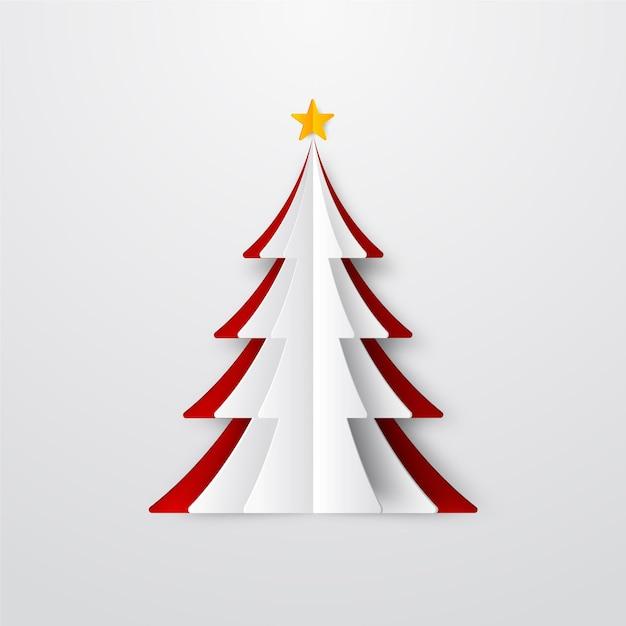Weihnachtsbaumillustration im papierstil Kostenlosen Vektoren