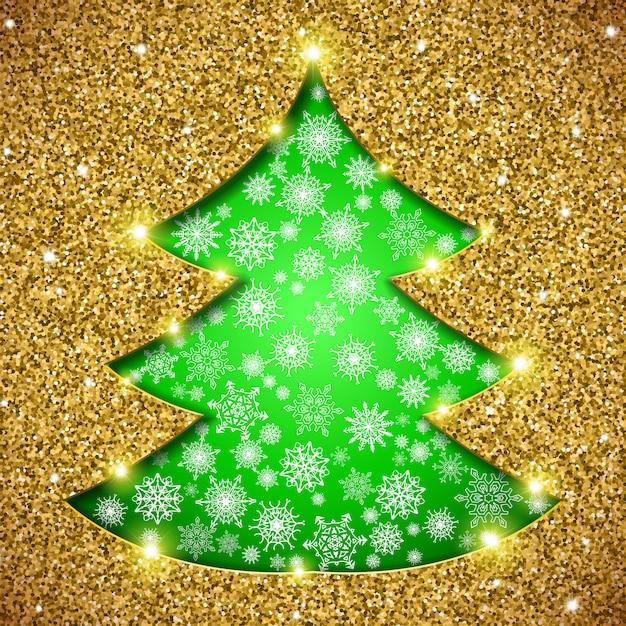 Weihnachtsbaumkarte mit funkeln Premium Vektoren