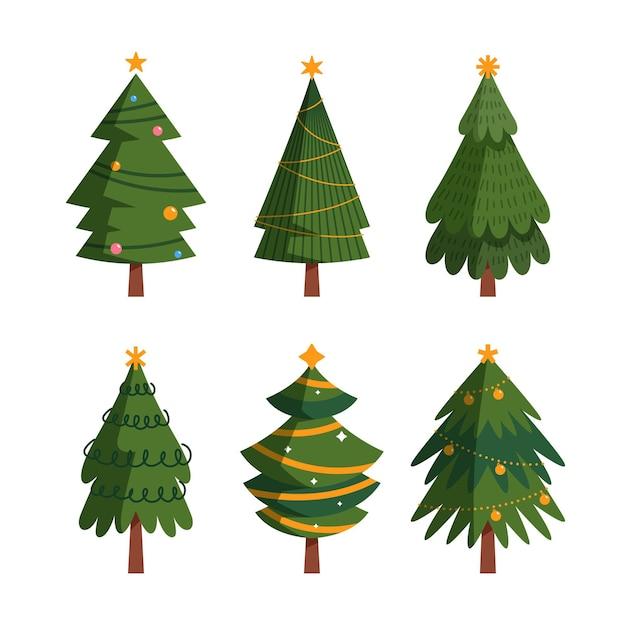 Weihnachtsbaumkollektion im flachen design Premium Vektoren