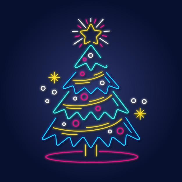 Weihnachtsbaumkonzept mit neondesign Kostenlosen Vektoren