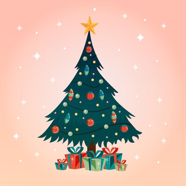 Weihnachtsbaumkonzept mit weinlesedesign Kostenlosen Vektoren