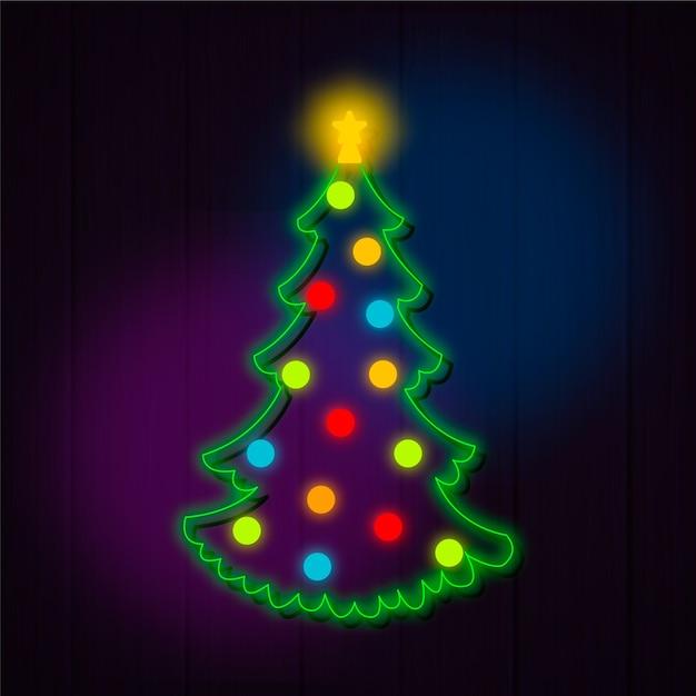 Weihnachtsbaumkonzept-neondesign Kostenlosen Vektoren