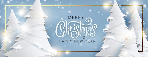 Weihnachtsbaumlandschaft und schneiender papierkunststil. weihnachtstext kalligraphische beschriftung Premium Vektoren