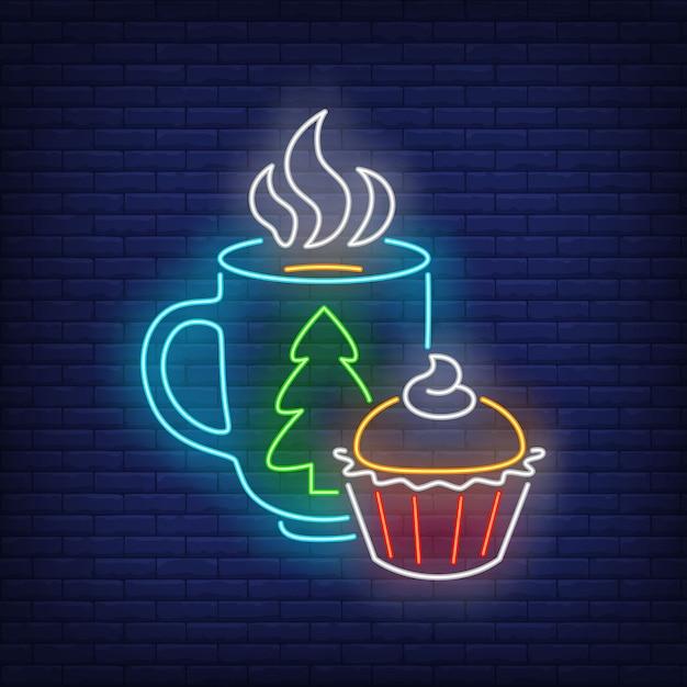 Weihnachtsbecher und -muffin in der neonart Kostenlosen Vektoren