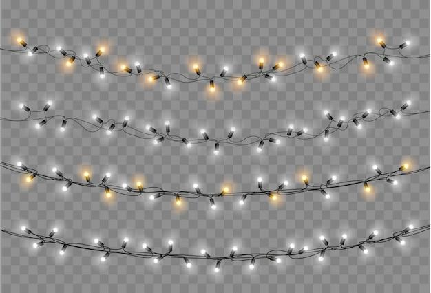 Weihnachtsbeleuchtung eingestellt. vektor neujahr dekorieren girlande mit leuchtenden glühbirnen. Premium Vektoren