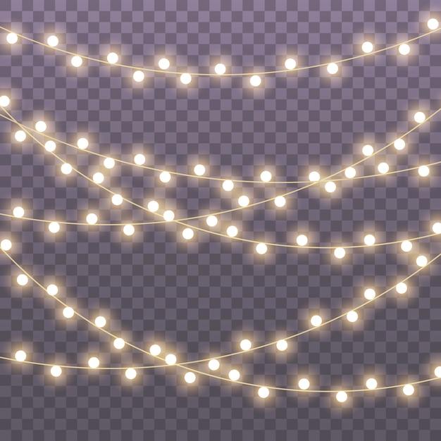 Weihnachtsbeleuchtung isoliert Premium Vektoren