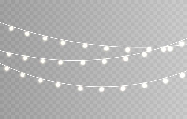 Weihnachtsbeleuchtung. schnur mit leuchtenden glühbirnen. Premium Vektoren