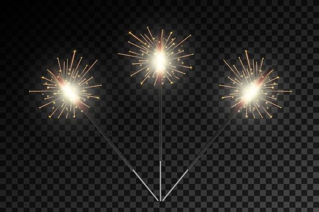 Weihnachtsbengal-feuerglühenlichtfunken, feuerwerke Premium Vektoren