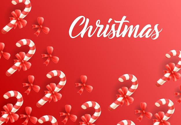 Weihnachtsbeschriftung auf hintergrund mit zuckerstangenmuster Kostenlosen Vektoren