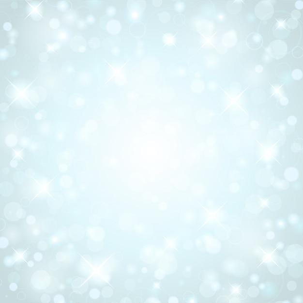 Weihnachtsblaue funkelnlichter von hellem glühen magisches bokeh und illustration Premium Vektoren