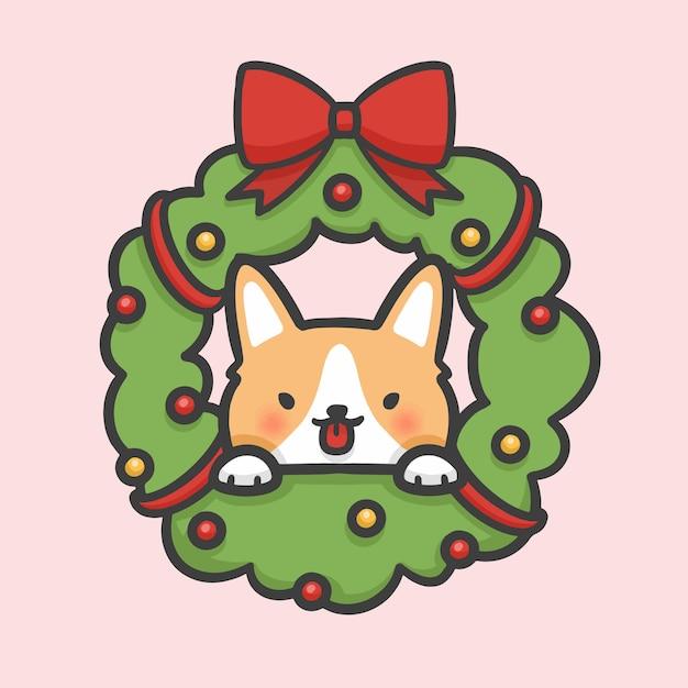 Weihnachtsblumenkranzdekoration und corgihundehand gezeichnet Premium Vektoren