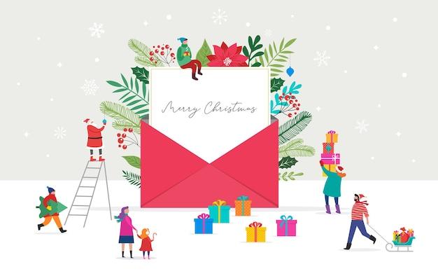 Weihnachtsbrief kommt aus umschlag. leerer weißer papper für whitzing messege. Premium Vektoren