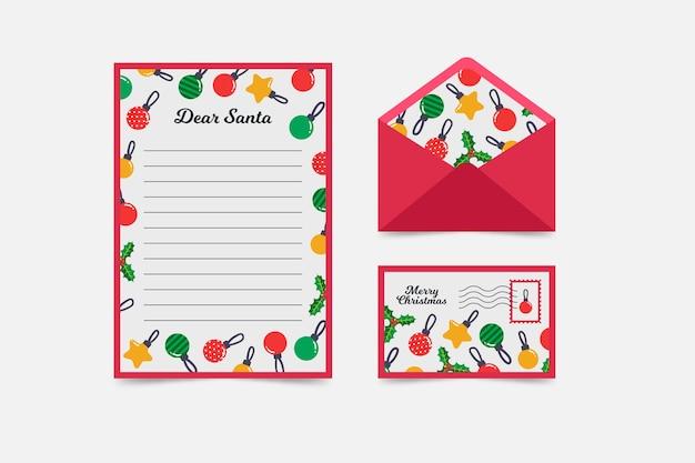 Weihnachtsbriefpapierschablone des flachen designs Kostenlosen Vektoren