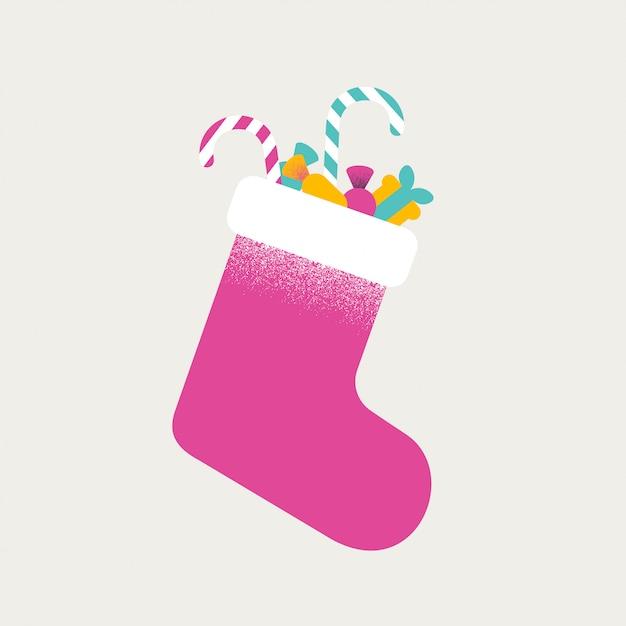 Weihnachtsbunte socke voll von bonbons und von geschenken Premium Vektoren