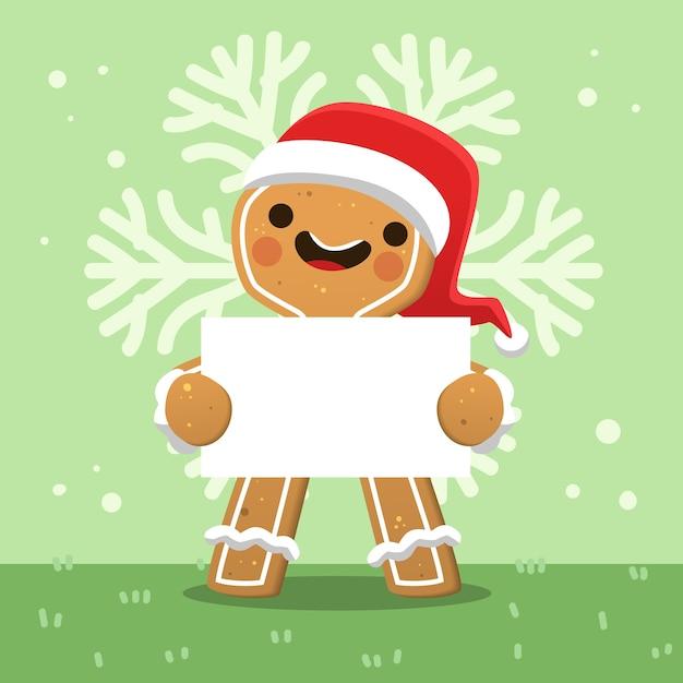Weihnachtscharakter, der leere fahne hält Kostenlosen Vektoren