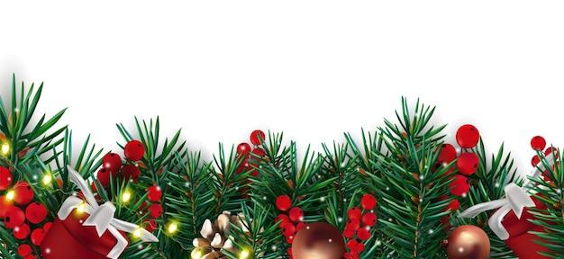 Weihnachtsdekor mit tannenzapfenzweigen beleuchtet rote beeren tannenzapfen und geschenk Premium Vektoren