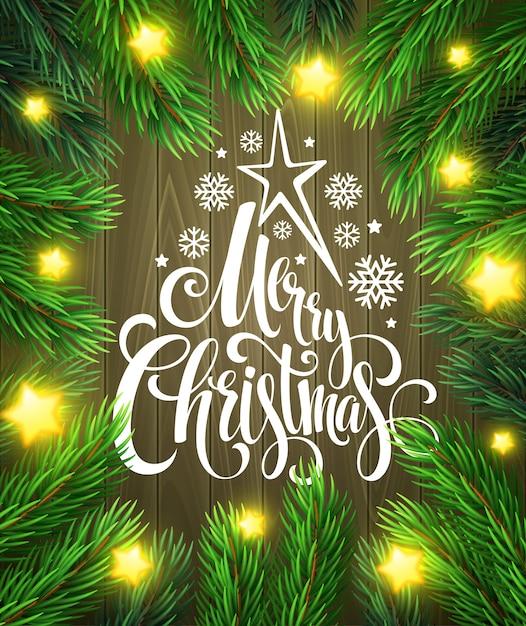 Weihnachtsdekoration auf holz mit beschriftung, grußkarte Premium Vektoren