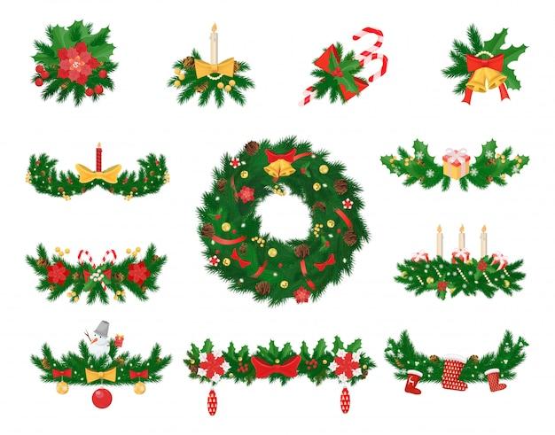 Weihnachtsdekoration aus fichte und jingle bells Premium Vektoren