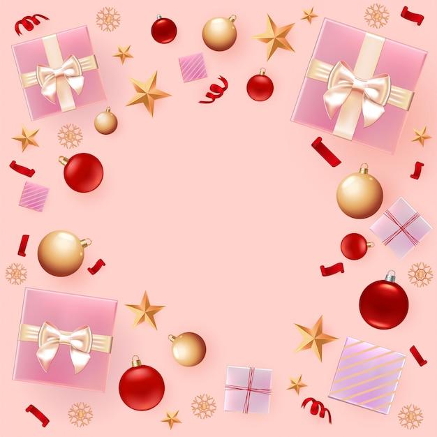 Weihnachtsdekoration hintergrund Premium Vektoren