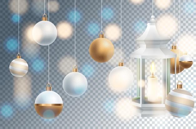 Weihnachtsdekoration mit festlichen gegenständen. isoliert auf transparent Premium Vektoren
