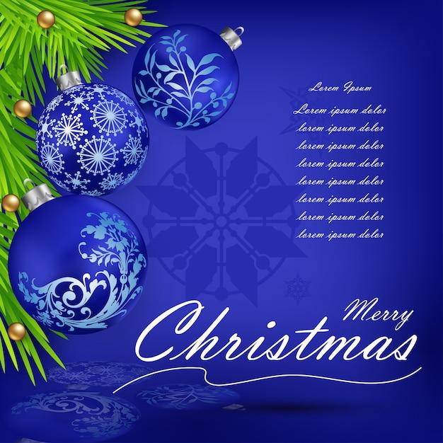 Weihnachtsdekorationen mit 3 blauen weihnachtsbällen Premium Vektoren