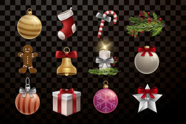 Weihnachtsdekorationen und elements collection Premium Vektoren