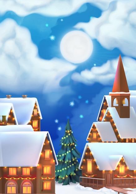 Weihnachtsdorf hintergrund. Premium Vektoren