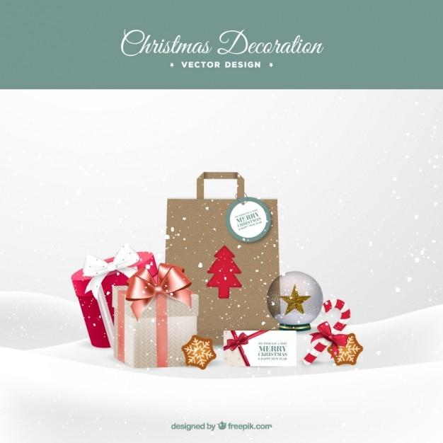 Weihnachtseinkäufe im schnee Kostenlosen Vektoren