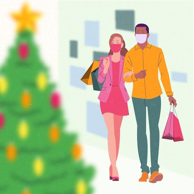 Weihnachtseinkaufsszene - masken tragen Kostenlosen Vektoren