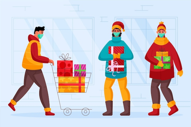 Weihnachtseinkaufsszene mit masken Kostenlosen Vektoren